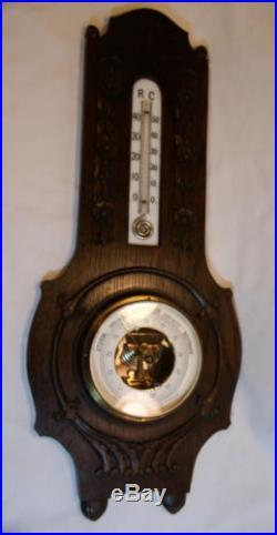 1800 S WOOD GERMAN USCHEK SCHILLINGS VERANDERLICH THERMOMETER BAROMETER