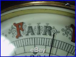 1800s Porcelain dial barometer 10 red & black glaze copper rim mahogany base XL