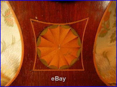 1820 Sheraton Mahogany Desk Barometer Porcelain Enamel Inlaid Rosette SUPERB