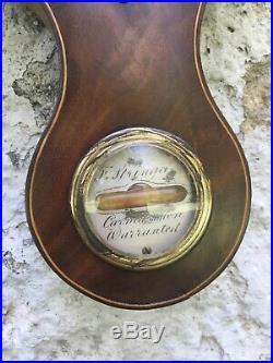 1830's Regency Mahogany Barometer by F. Stringa of Carmarthen Boxwood Case
