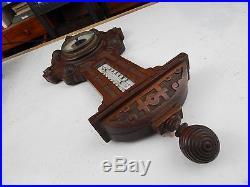 1880 Carved Walnut KEUFFEL & ESSER Aesthetic movement BAROMETER THERMOMETER rare
