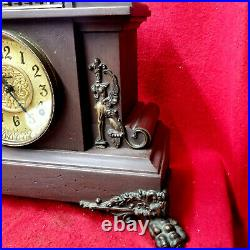 1885 Ingraham Mantle Clock With HUGE Claw Feet Mythological Lion Applications