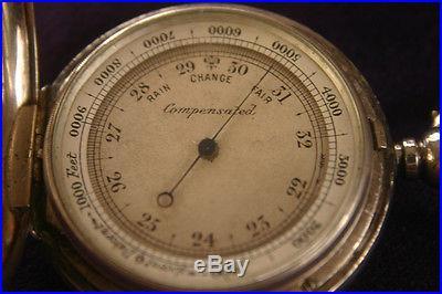 1888 Victorian solid silver hunter case pocket barometer