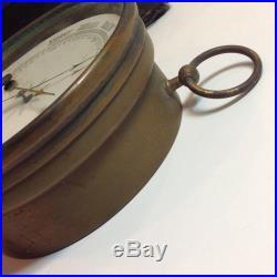 1900s Antique Aneroid Barometer Brass Patina Steampunk Ind Handmade Wood Case