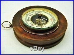 1920s German Aneroid Barometer Porcelain Face Exposed Movement Wood Grain Frame