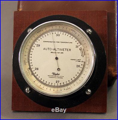 1920s Taylor AUTO-ALTIMETER Motor Aneroid Automobile Brometer w/Orig Case