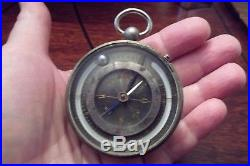 19TH Century German Cased Pocket Barometer Compass & Thermometer GREAT LOOKING