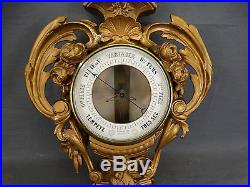 19thC Antique FRENCH Figural PUTTI & BIRD Victorian WINGED CHERUB Old BAROMETER