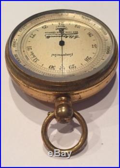 19th Century E. B. Meyrowitz Portable Pocket Barometer & Altimeter