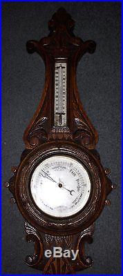 19th Century Victorian Oak Banjo Aneriod Barometer Highly Ornate