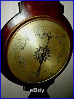 19th Century Wall Antique Banjo Wheel Barometer Leeds M. Barnscone large 42