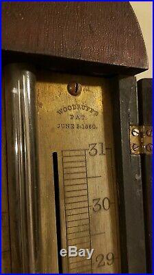 19th c. American N. H. Mahogany Stick Barometer Charles Wilder Woodruff's Patent