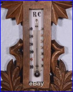 20 Tall Antique Black Forest Barometer Weather Station in Solid Walnut withCross