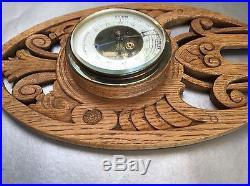 20 Veranderlyk Antique Black Forest Style Carved Oak Weather Barometer Dutch