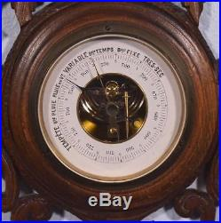 25 Tall Antique Black Forest Barometer/Weather Station in Solid Walnut
