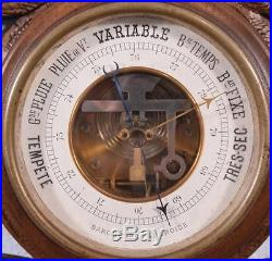 27 Tall Antique Black Forest Barometer Weather Station in Solid Walnut