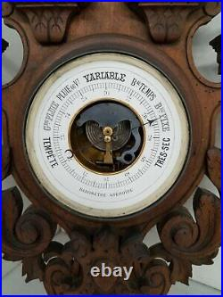 27 Wood Carved Wall Barometer Thermometer