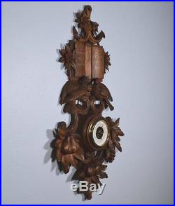 36 Tall Antique Black Forest Barometer Weather Station in Solid Walnut