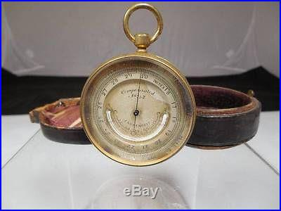 4220 Antique 19th c. Pocket Barometer Thermometer Very Nice Pocket Watch Form