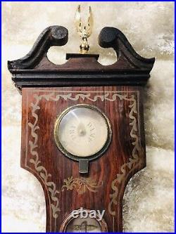 44 Inch LARGE ANTIQUE ENGLISH MAHOGANY CASE WALL BANJO BAROMETER THERMOMETER