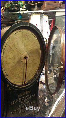 ANTIQUE 1887 DRAPERS SELF RECORDING THERMOMETER BRASS COPPER STEAMPUNK AWESOME