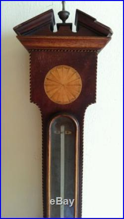 ANTIQUE, 19th Century CHADBURNS OF LIVERPOOL, WALL BAROMETER with INLAID CASE