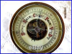 ANTIQUE BRASS BAROMETER GAUGE-GERMANY-4 STROMY-RAIN-FAIR-VERY DRY-SHIP MARITINE