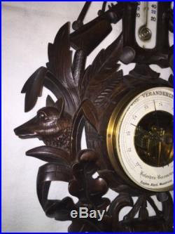 ANTIQUE CARVED WOOD BLACK FOREST VERANDERLIX BAROMETER THERMOMETER
