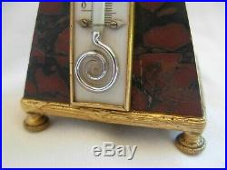 ANTIQUE FRENCH GILT BRONZE MARBLE THERMOMETER, LATE 19th CENTURY