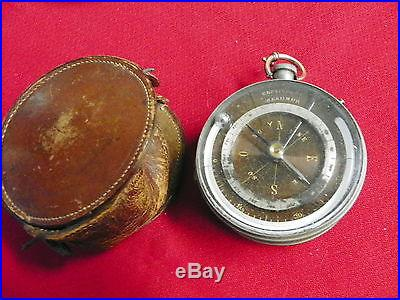 ANTIQUE FRENCH POCKET BAROMETER, COMPASS & THERMOMETER W/LEATHER CASE