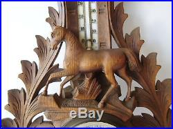 ANTIQUE GERMAN BLACK FOREST 19 CARVED HORSE BAROMETER & THERMOMETER