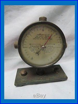 ANTIQUE HEAVY METAL GLASS FRONT BAROMETER, NAUTICAL, ORIGINAL STAND, BLACK, RED HAND