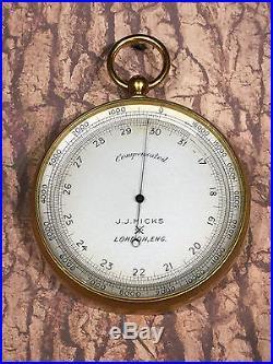 ANTIQUE J. J. HICKS POCKET ALTIMETER INCREDIBLE CONDITION RARE AND UNIQUE
