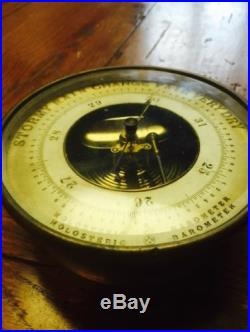 ANTIQUE NAUTICAL BRASS HOLOSTERIC BAROMETER MADE BY PHBN