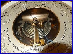 ANTIQUE NAUTICAL BRASS HOLOSTERIC BAROMETER With TWIN THERMOMETERS MADE BY PHBN