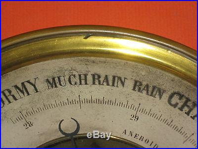 ANTIQUE~Old 8 1/4 Brass ANEROID BAROMETER & THERMOMETER~Marked DC with ANCHOR
