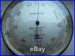 ANTIQUE SHORT MASON LONDON POCKET BAROMETER FROM MAX KUNER NAUTICAL SEATTLE