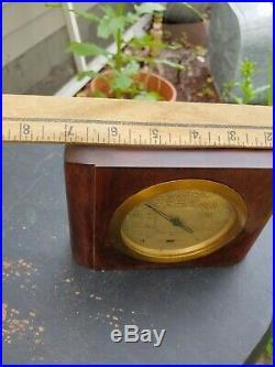 ANTIQUE USA WOOD & GLASS TAYLOR STORMOGRAPH wall mount brass oak rare unit 20s