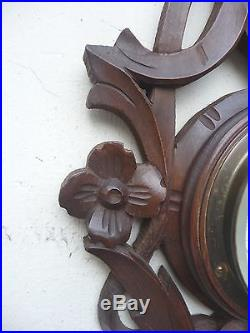 ANTIQUE VICTORIAN AUSTRIAN BLACK FOREST CARVED BAROMETER with THERMOMETER