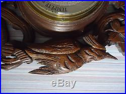 ANTIQUE VICTORIAN FRENCH BLACK FOREST WALL BAROMETER THERMOMETER