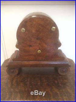 ANTIQUE VINTAGE ENGLISH BURLED WALNUT HAND CARVED WOOD BAROMETER THERMOMETER