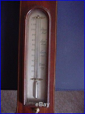 ANTIQUE WALL BAROMETER INLAY WOOD HOLYWELL J McQUINN. 38 WITH thermometer