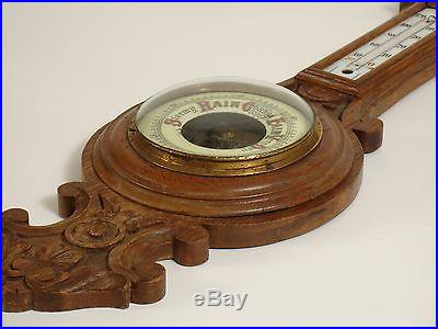 ANTIQUE WALL HANGING CARVED OAK BAROMETER THERMOMETER