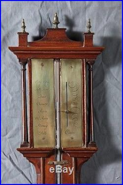 A Wonderful Mahogany English Georgian Stick Barometer by Polti, Circa 1790