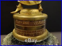 All Original Nostradamus Aneroide Barometer Bronze On Marble Base Signed A. Loir