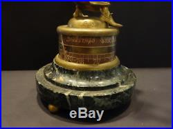 All Original Nostradamus Aneroide Barometer Bronze Signed A. Loir Marble Base
