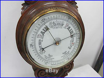 Aneroid Banjo Barometer Thermometer Dual Dial Hand Carved Wood Wall Station
