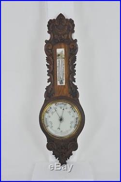 Aneroid Barometer, Decorative Barometer, Carved Oak Barometer, 1890, B1039