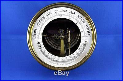 Aneroid Barometer Solid Brass Case Marked DC and Anchor Antique