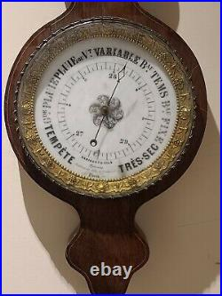 Antique 1820's Radiguet & Fils Paris French Victorian Wall Barometer Thermometer